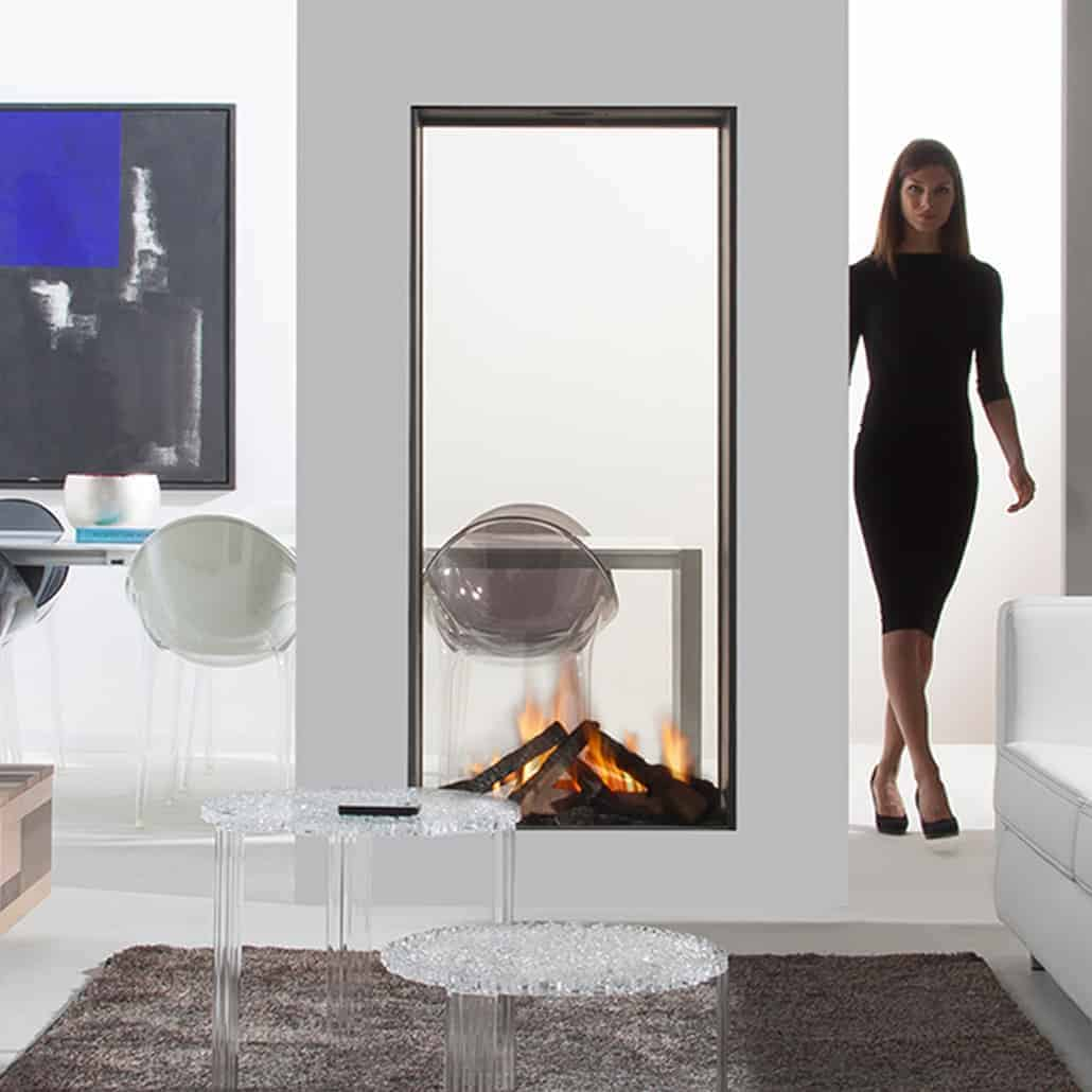 Artisan Sky T See Through Vertical Glass Fronted Fire